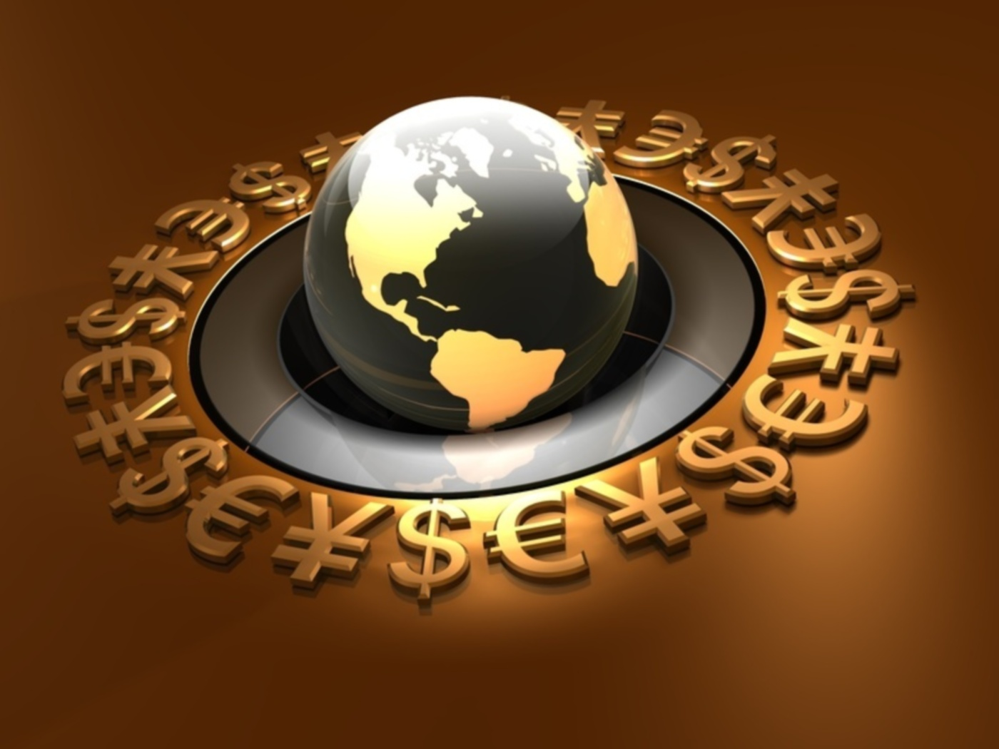 3d illustration of a globe surrounded by a ring of bronze Yen, Euro, and Dollar symbols
